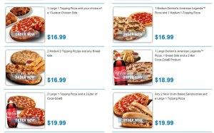 """U.S. """"Dominos"""" menu"""