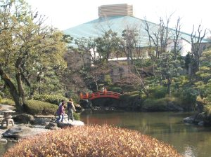 The Sumo Arena is visible outside the Japanese garden.