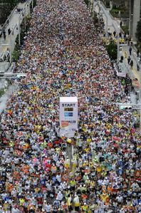 At the beginning of the marathon all 37000 people were crowded together