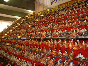 An extremely large doll display for ひな祭 (Doll Festival).