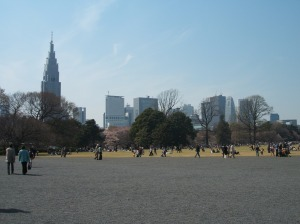 The skyscrapers of Shinjuku can be seen from the gardens.