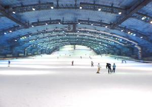 "Inside the ""SSAWS Ski Dome""."