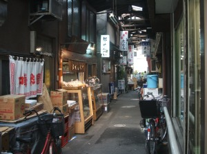 Side alley with many shops.