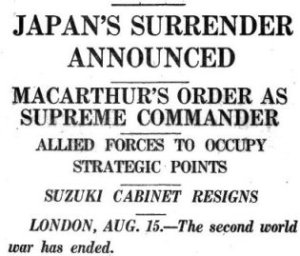 1945 August 16 newspaper headline
