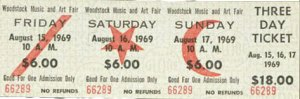 3-day ticket for Woodstock Festival, 1969 August 15-17