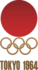 The logo of the 1964 Olympic Games hosted by Tokyo, Japan.