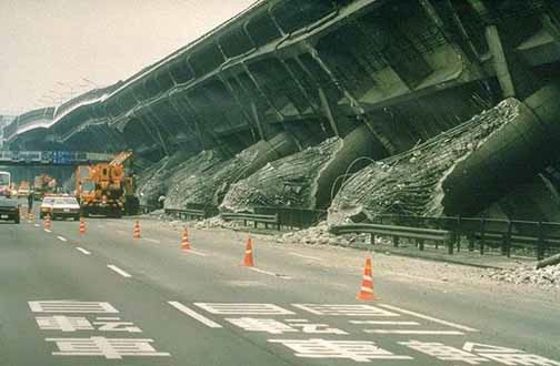 A collapsed overpass after the Kobe Earthquake; 1995 January