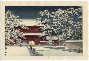 """「増上寺の雪」 (""""Zojoji Temple in Snow"""") by Kawase Hasui (昭和28年 (1953))"""