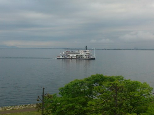 Our hotel had a lovely view of the largest lake in Japan: 琵琶湖 (Lake Biwa).
