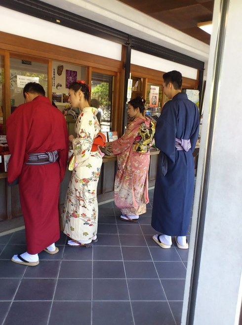 many people wear kimono in the ancient city of Kyoto.