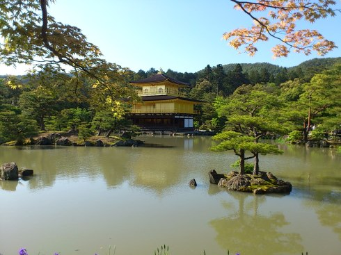 The famous 金閣寺 (Kinkaku-ji) Temple is covered in gold.