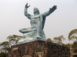 The 「平和祈念像」 (Peace Statue) in the 「平和公園」 (Peace Park) in Nagasaki.