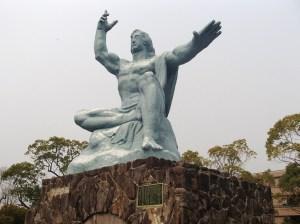 The 「平和祈念像」 (Peace Statue) in the 「平和公園」 (Peace Park) in Nagasaki.