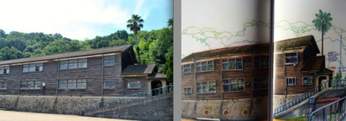 On the left shows the island's small unique school, and on the right is Mr. Chavouet's realistic drawing of it.